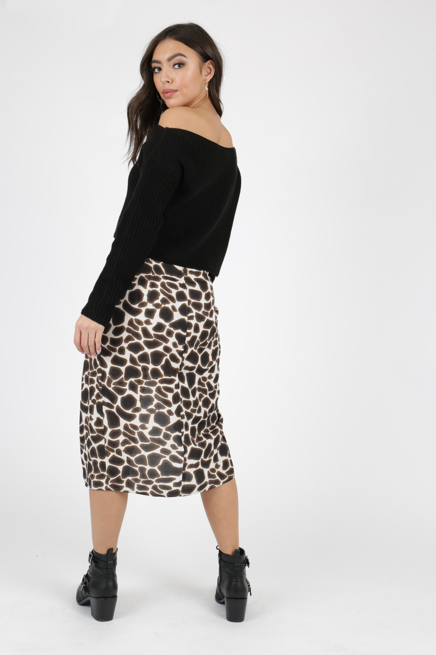 Dark Brown Leopard Print Self Tie Wrap Skirt
