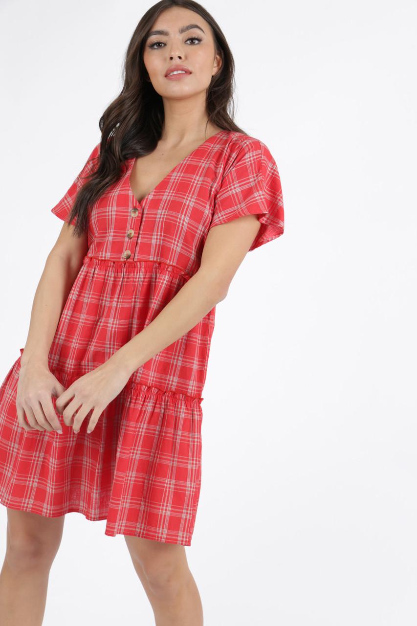 Red Check Cotton Frill Hem Smock Dress
