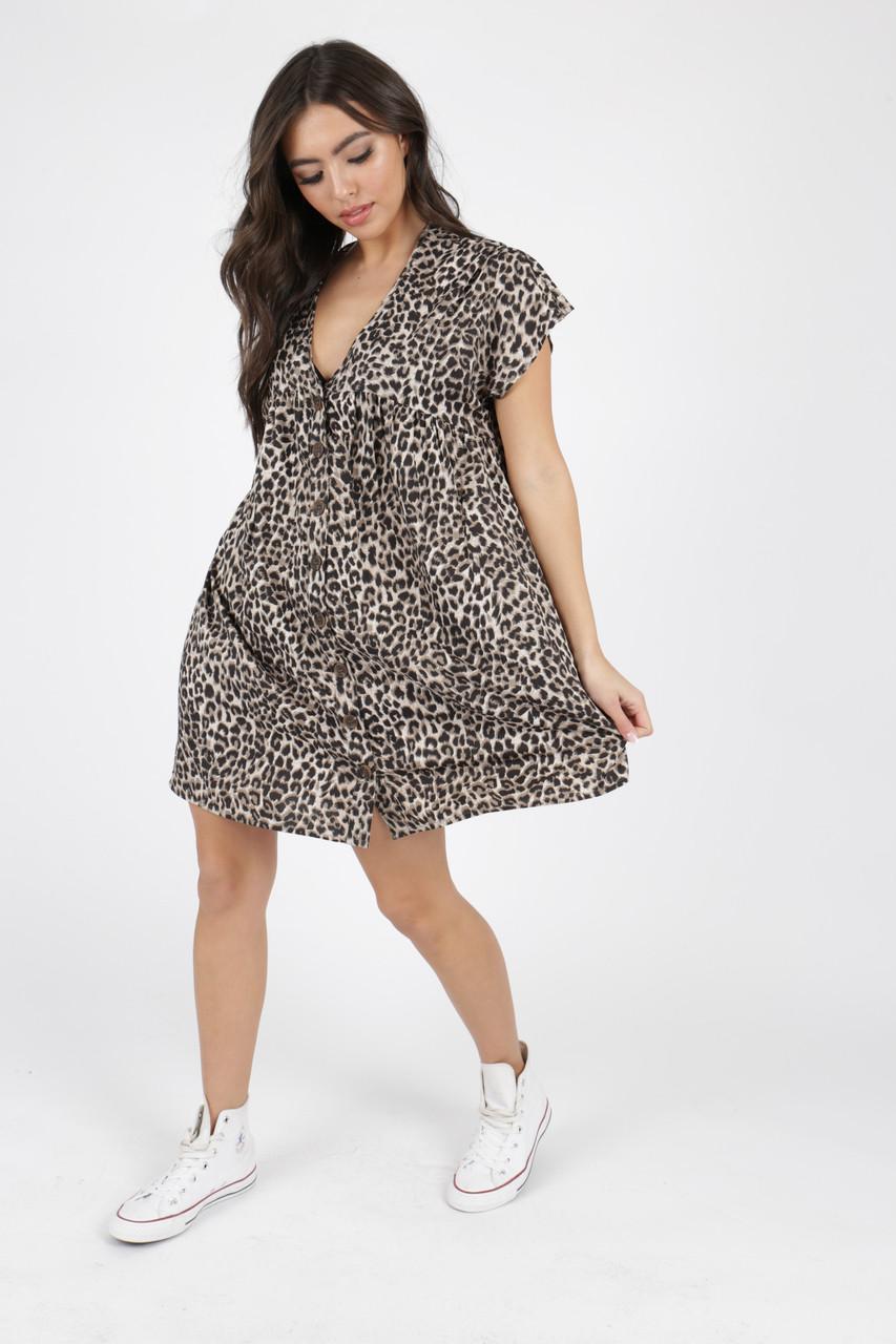 Leopard Animal Print Button Detail Smock Dress
