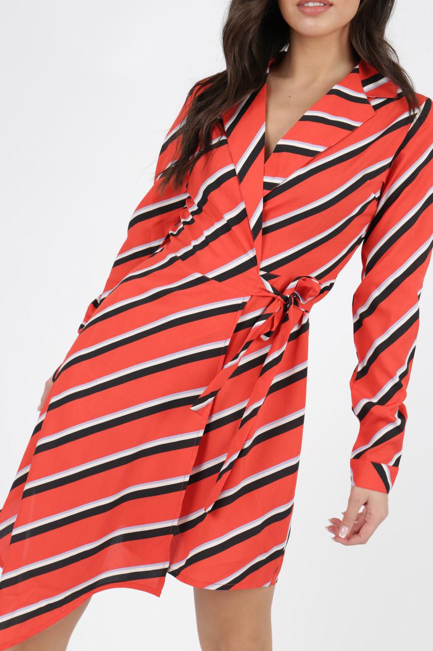 Red Stripe Asymmetric Wrap Dress