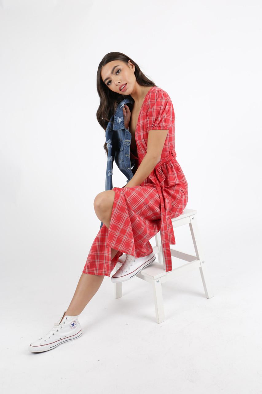 Red Check Deep Plunge Neck Midi Dress