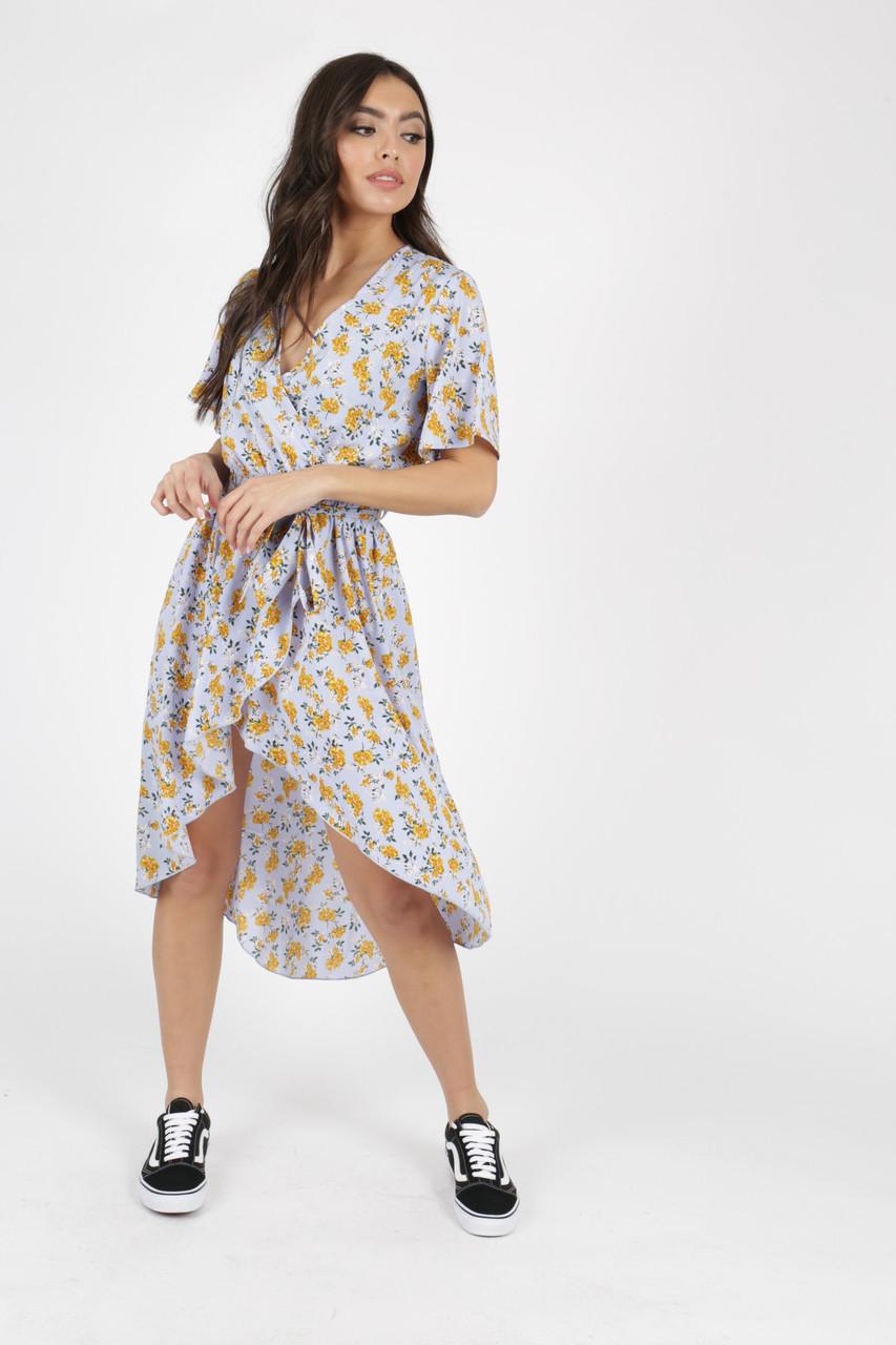 Blue Ditsy Floral Print Dip Hem Wrap Dress