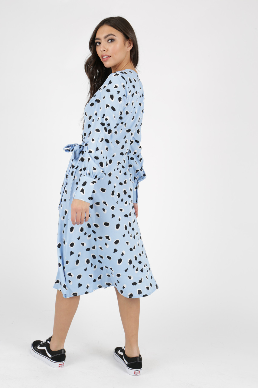 Blue Abstract Animal Print Side Tie Button Wrap Midi Dress