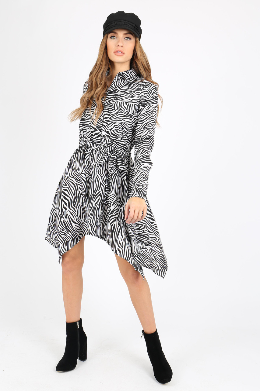 White Zebra Print Hanky Hem Shirt Dress