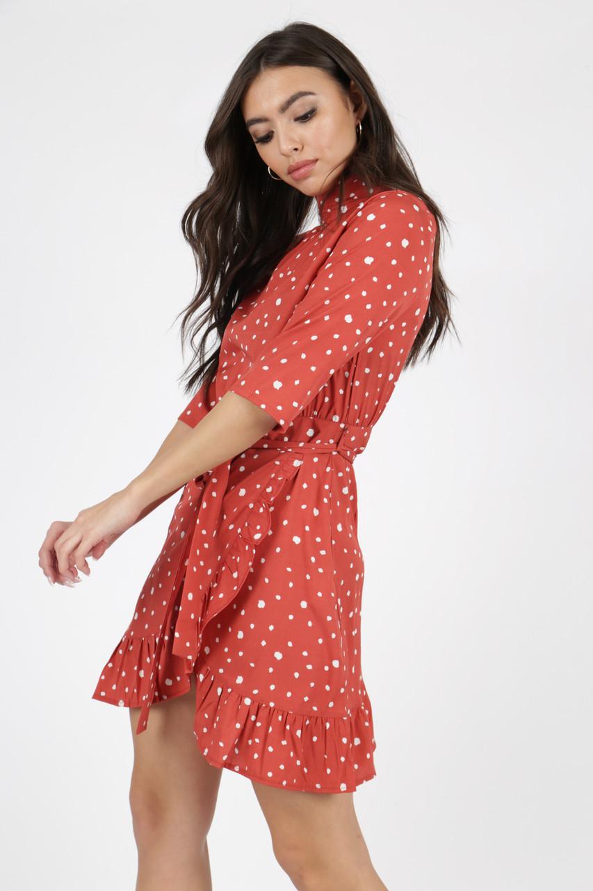 Rust Polkadot High Neck Ruffle Wrap Mini Dress