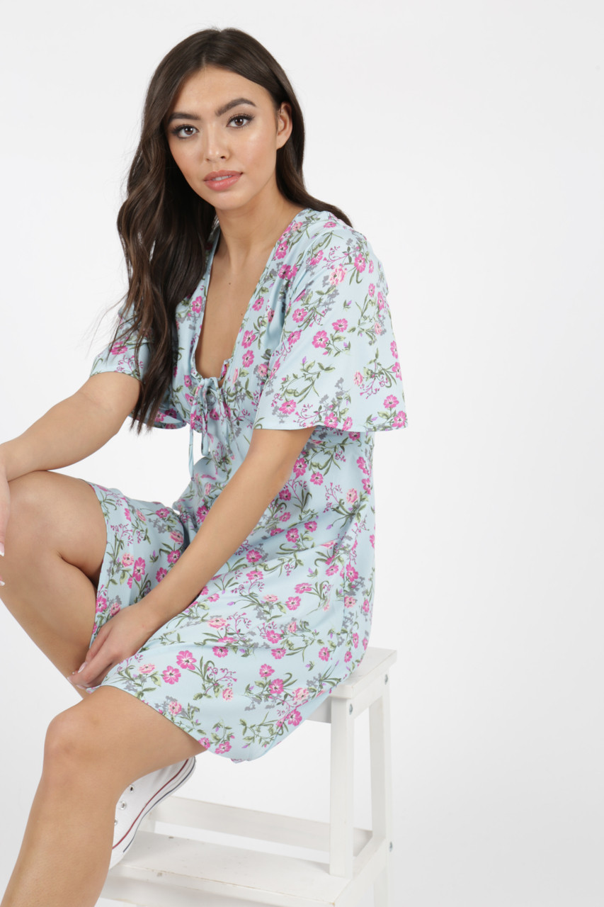 Blue Floral Print Tie Front Mini Dress