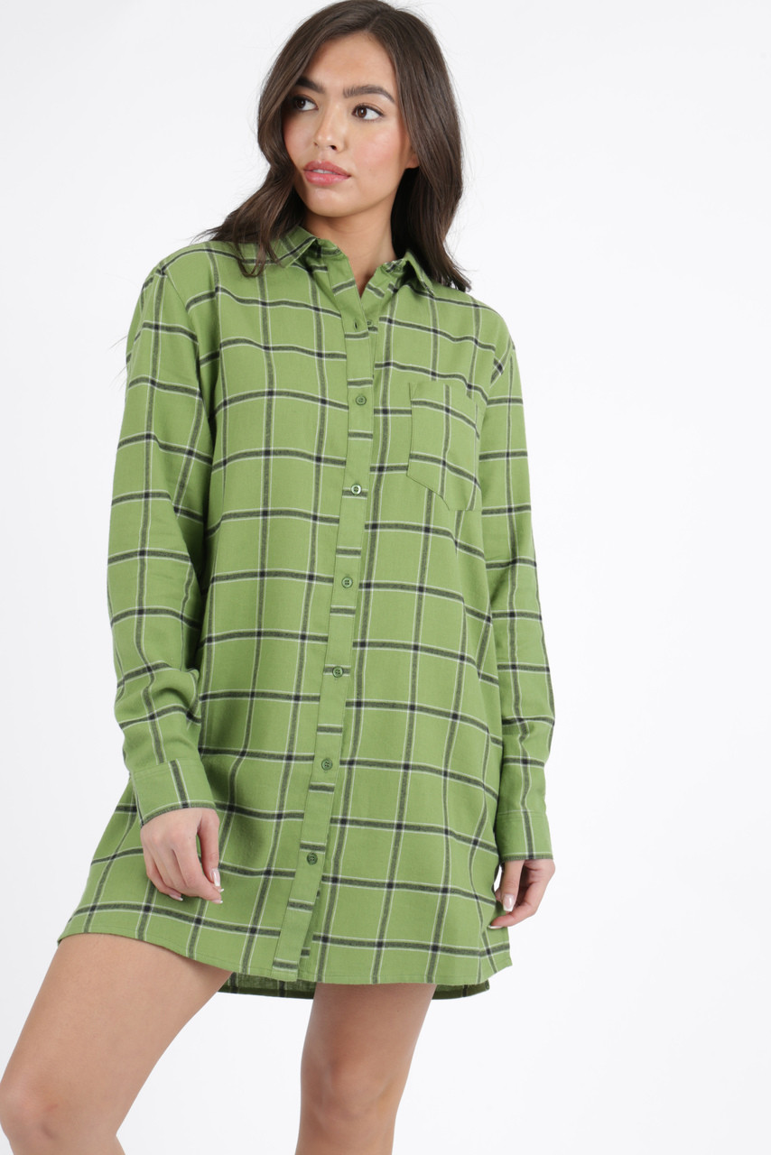 Green Check Oversized Long Sleeve Shirt Dress