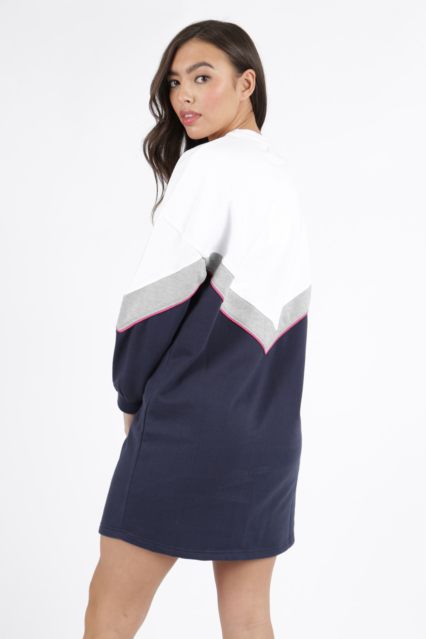 White Colour Block Sweat Dress