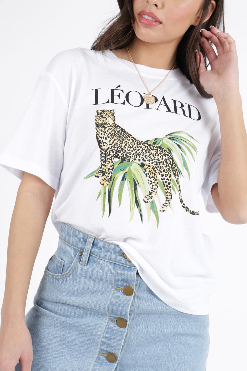 Leopard Print Graphic Tee