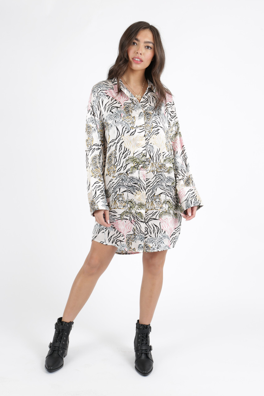 dec38c041afd Tallulah Tiger Satin Oversized Shirt Dress Tallulah Tiger Satin Oversized  Shirt Dress ...
