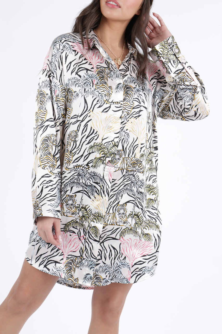 Tallulah Tiger Satin Oversized Shirt Dress
