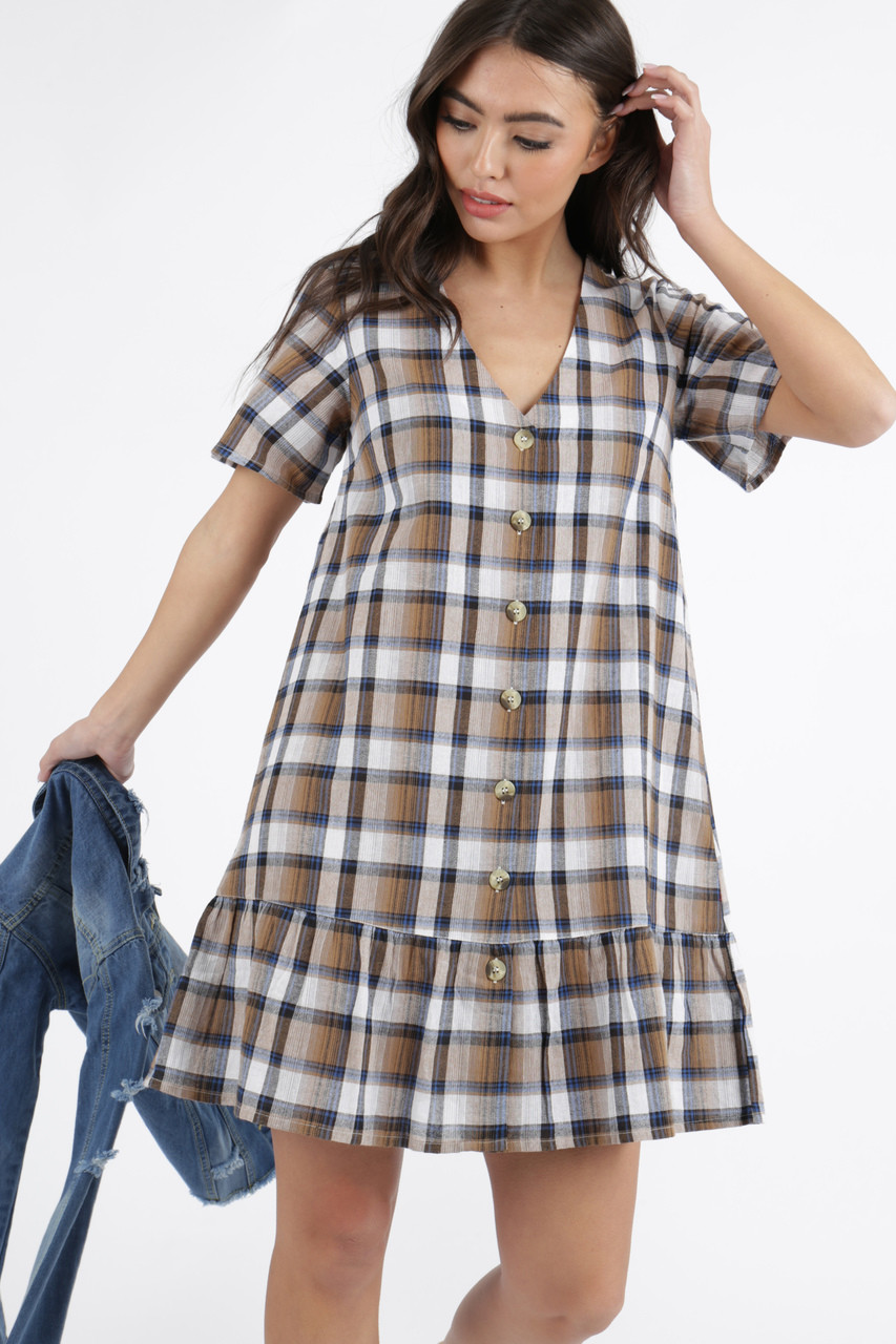 Brown Check Button Down Frill Hem Smock Dress