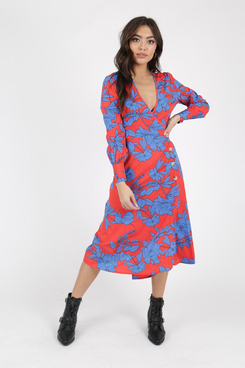 Red Blue Floral Side Button Detail Wrap Midi Dress