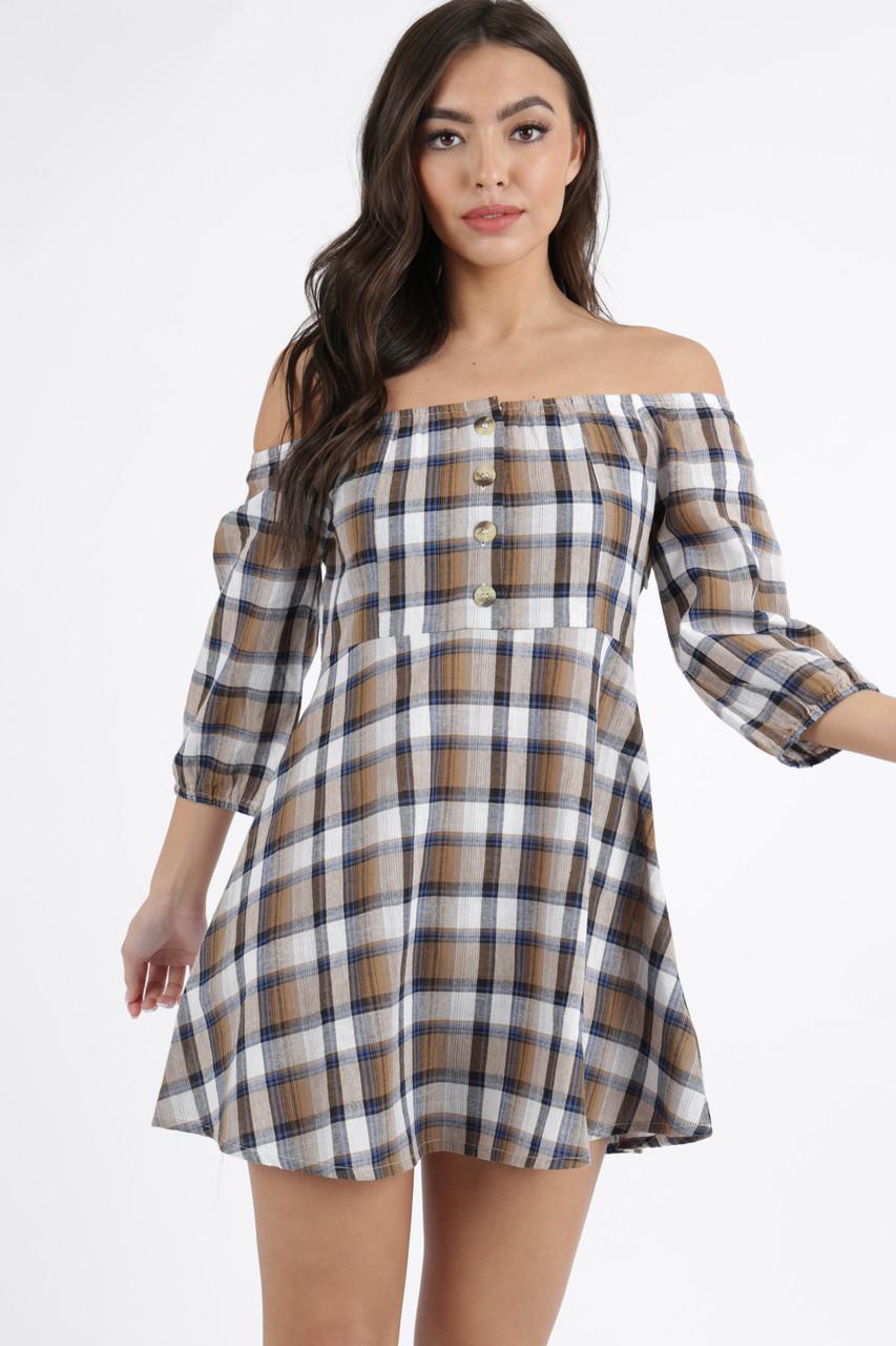 Brown Check Button Detail Bardot Mini Dress