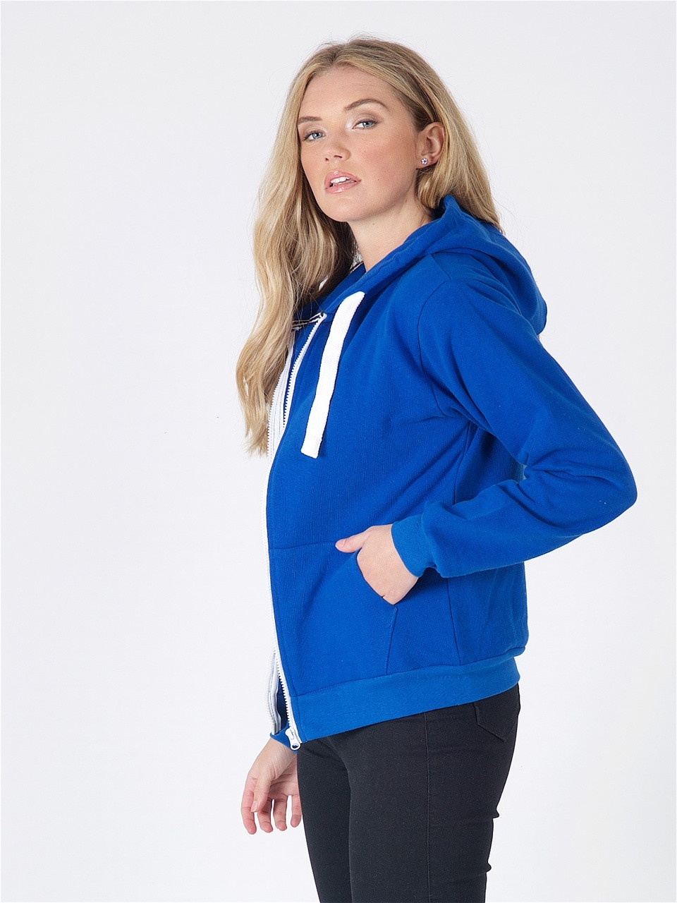 Jersey Zip Hoodie in Royal Blue