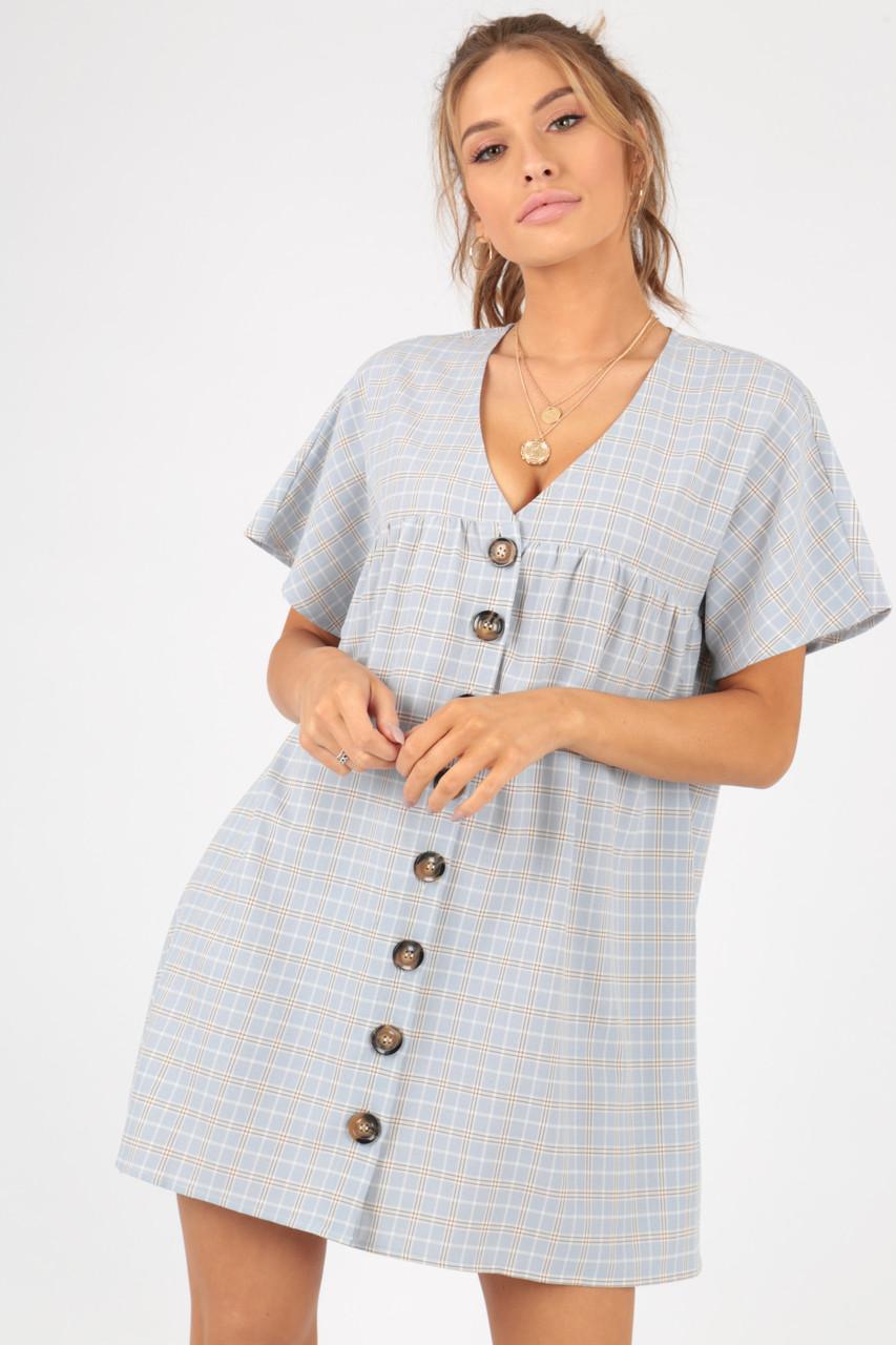 Grey Check Mock Horn Button Smock Dress