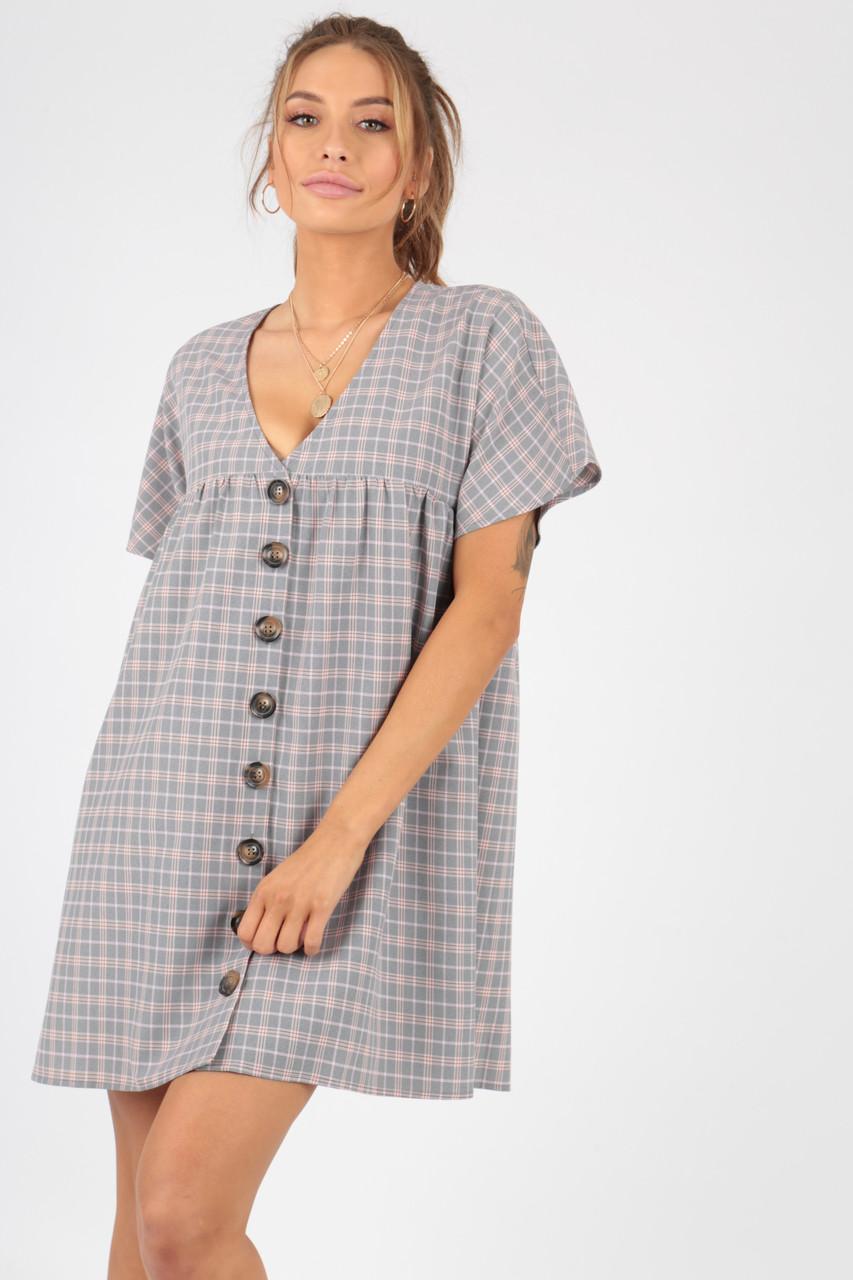 Grey Checked Mock Horn Button Smock Dress