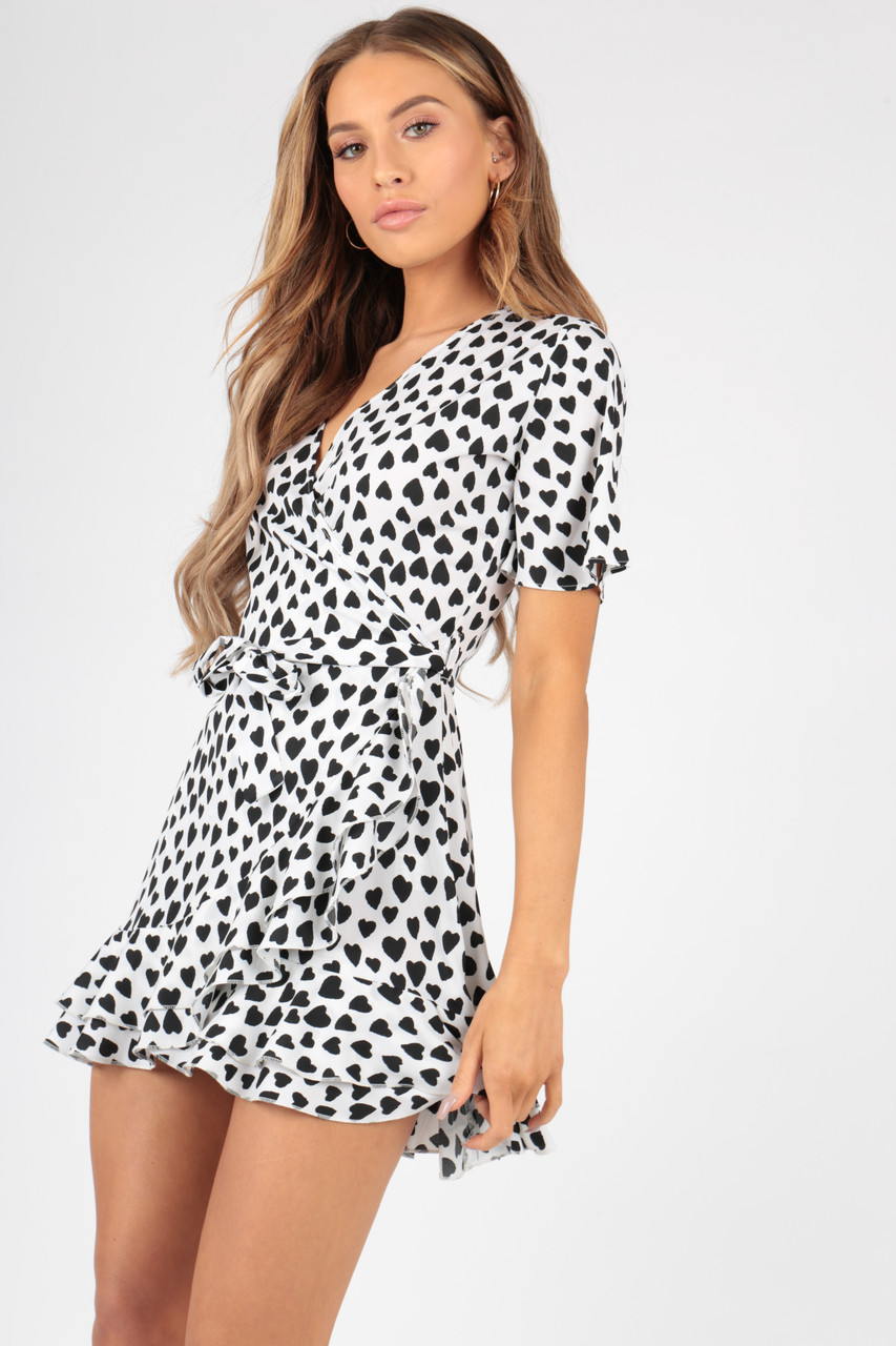White Heart Print Wrap Frill Skirt Mini Dress