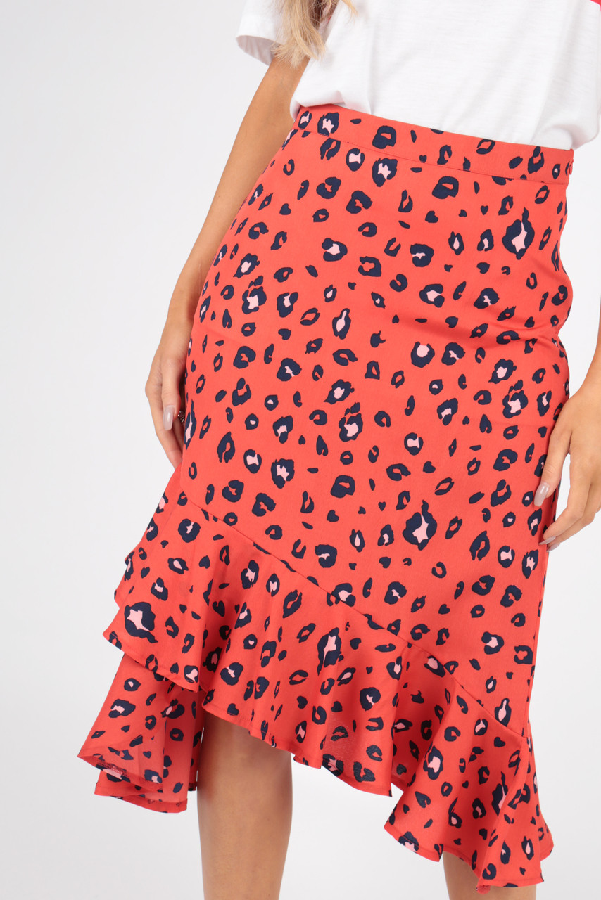 Red Asymmetric Frill Hem Animal Leopard Print Skirt