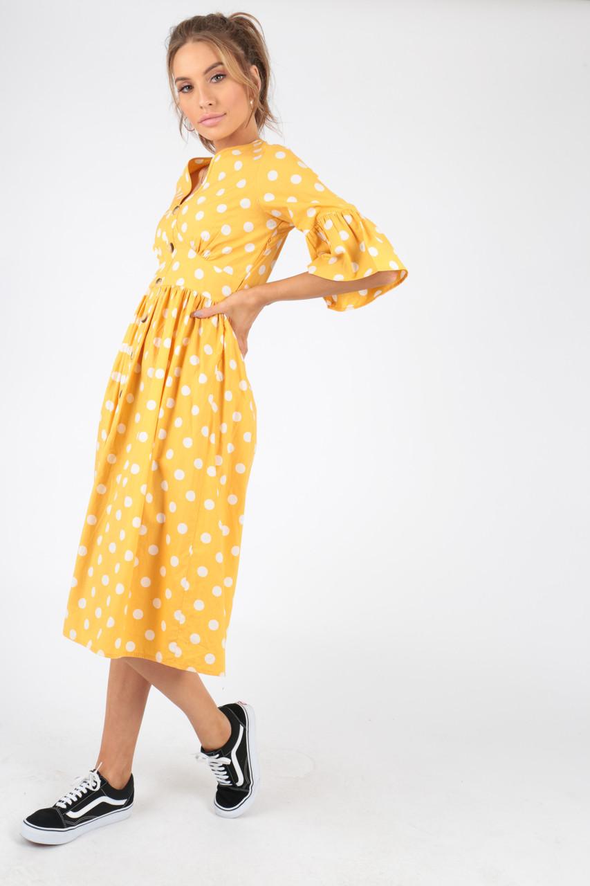 Yellow Polka Dot Spot Midi Dress With Mock Horn Buttons