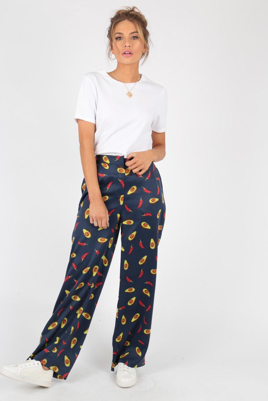 Avacoda Print Satin Wide Leg Trouser