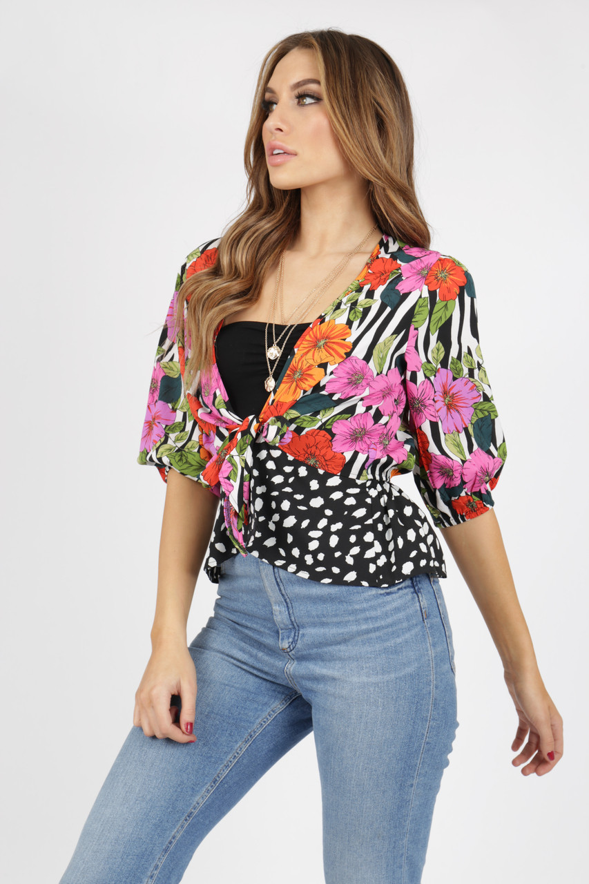 Mix and match animal floral zebra dalmatian tie front top