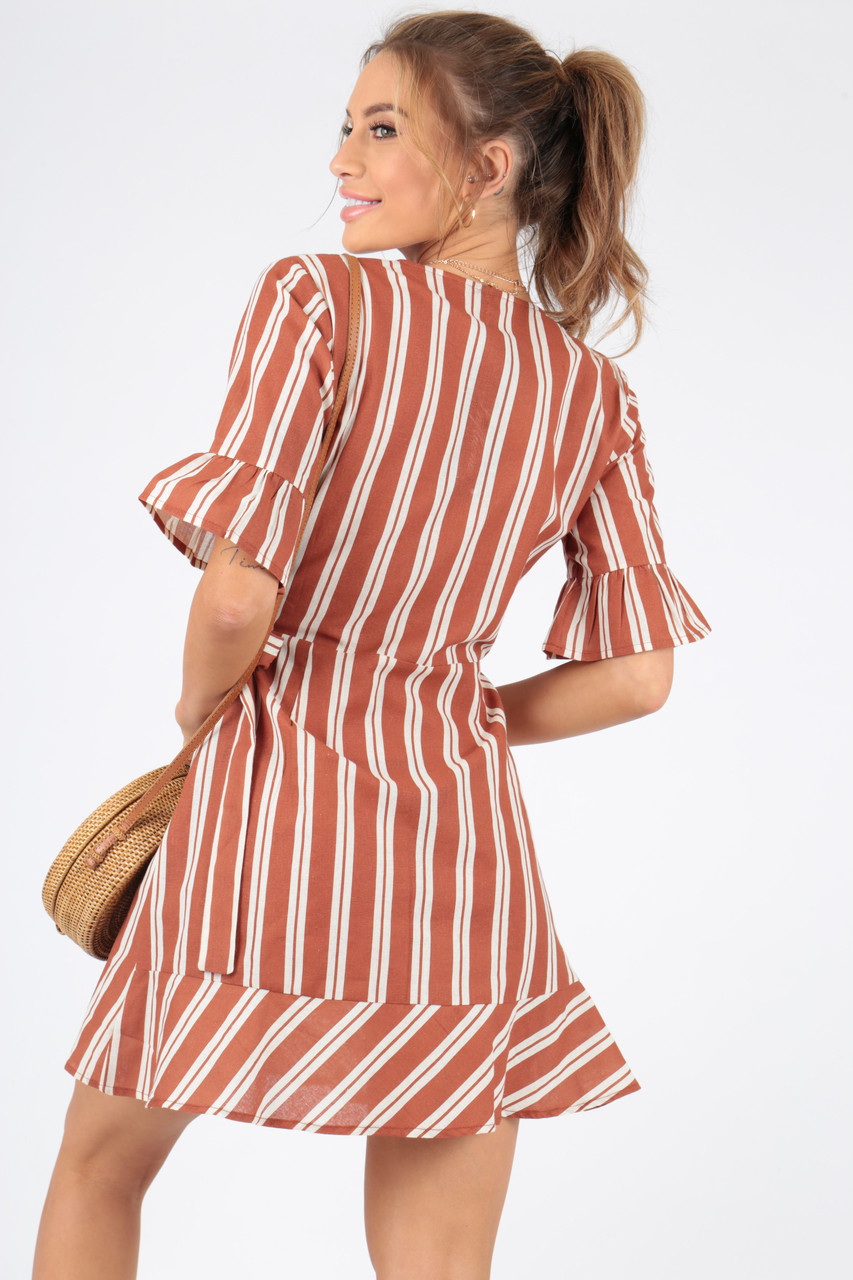 Rust Stripe Cotton Wrap Dress With Frill