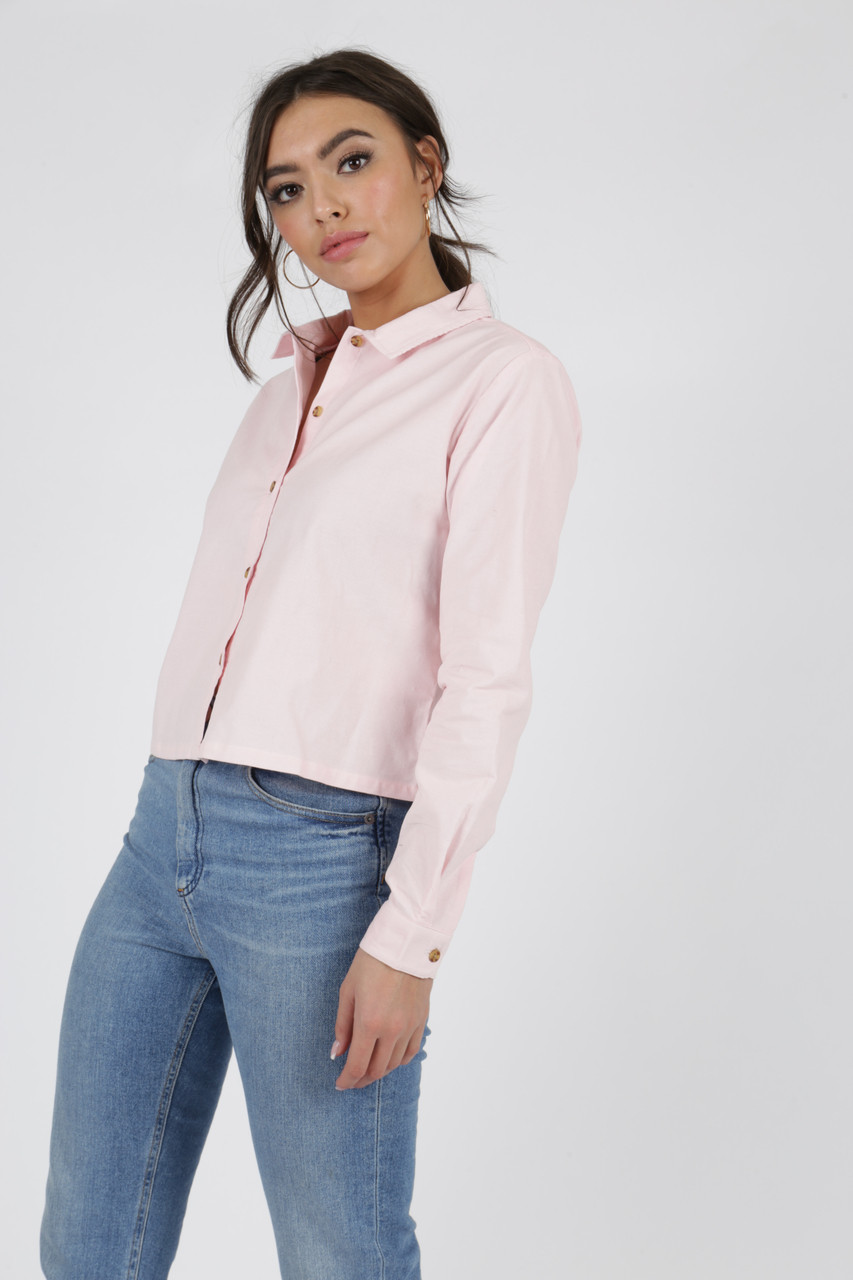 Pink Cord Cropped Cotton Shirt