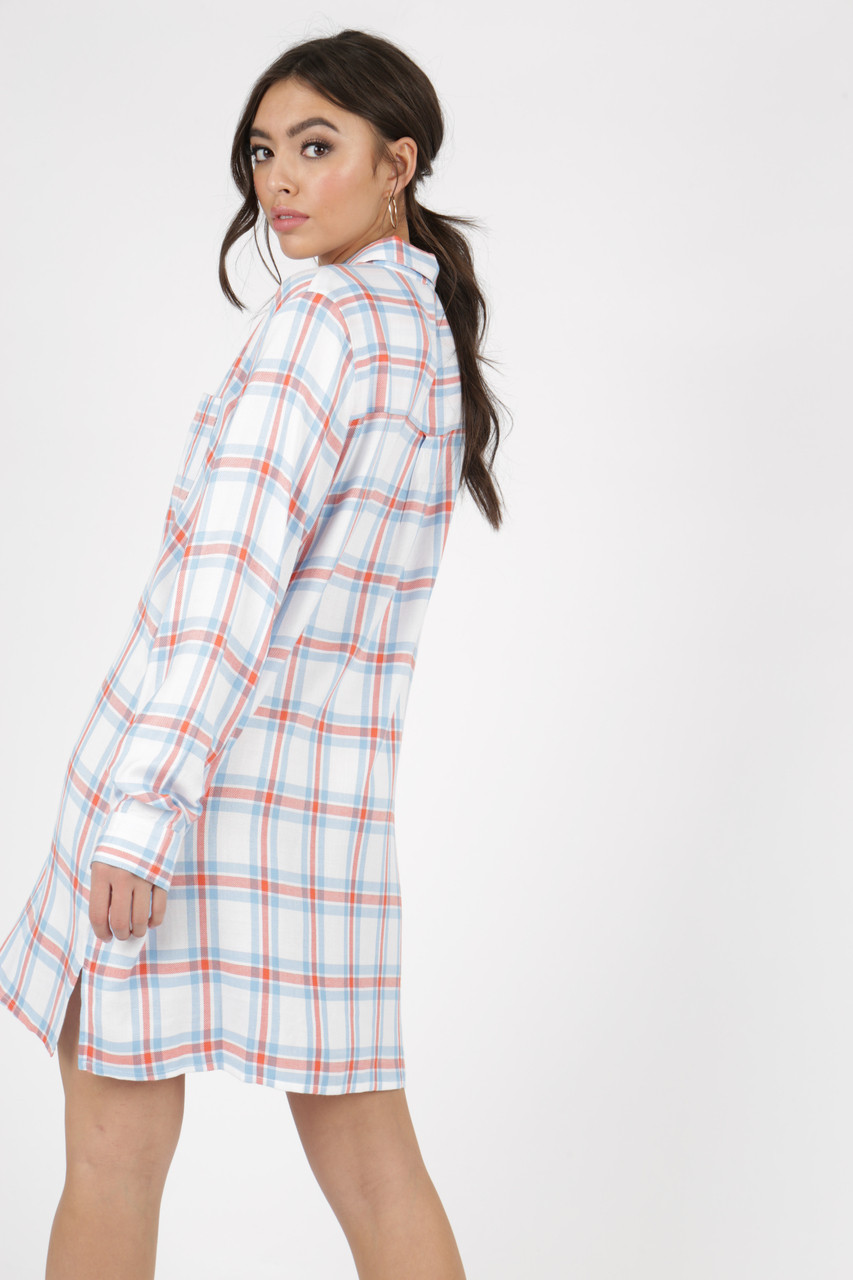 Multi Check Oversized Long Sleeve Shirt Dress