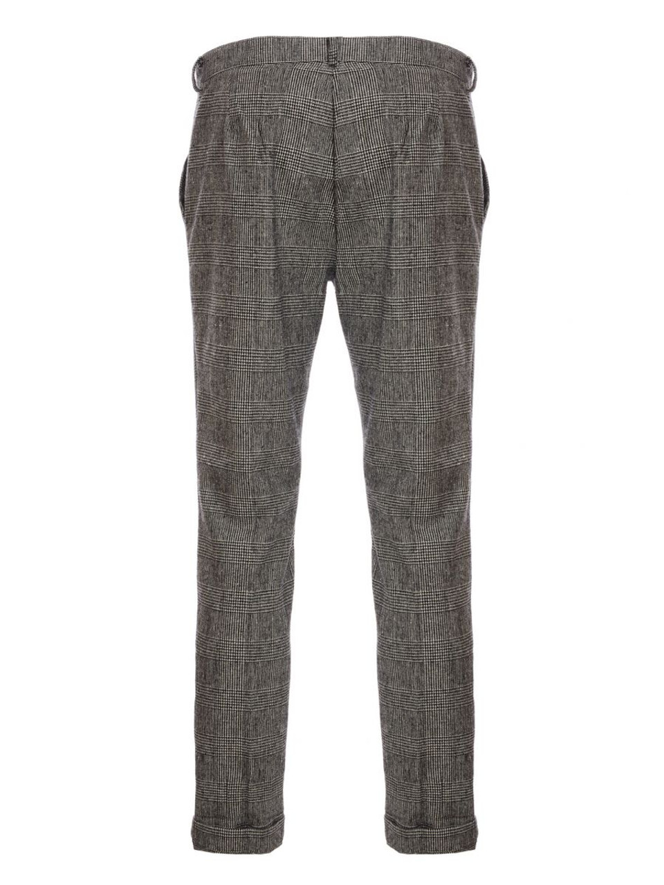Grey Check  Trouser With Turn Up