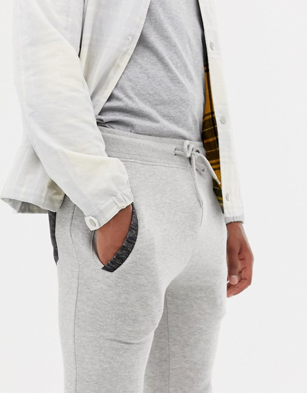 Grey slim Fit Pannel  Jogging Bottoms