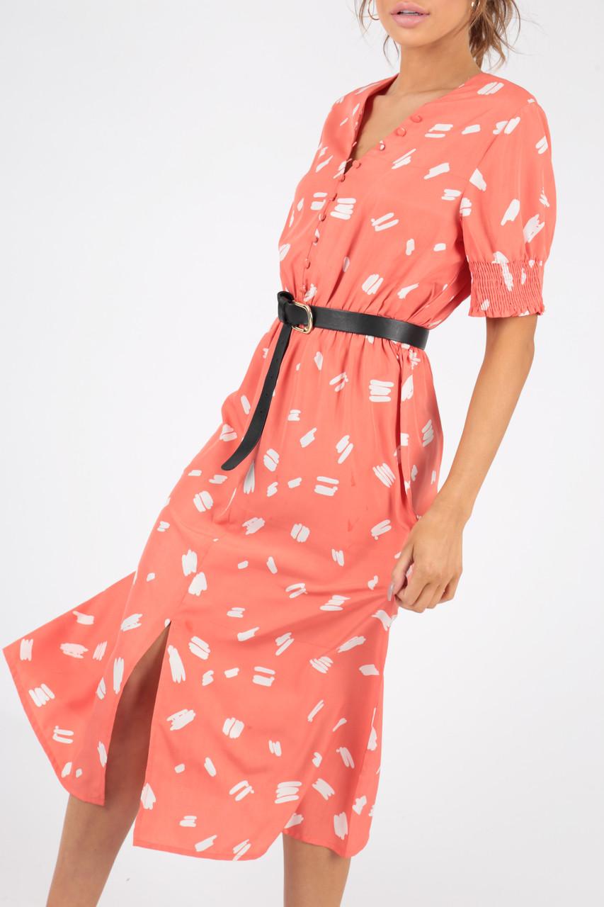 Coral Abstract Print Button Down Midi Dress