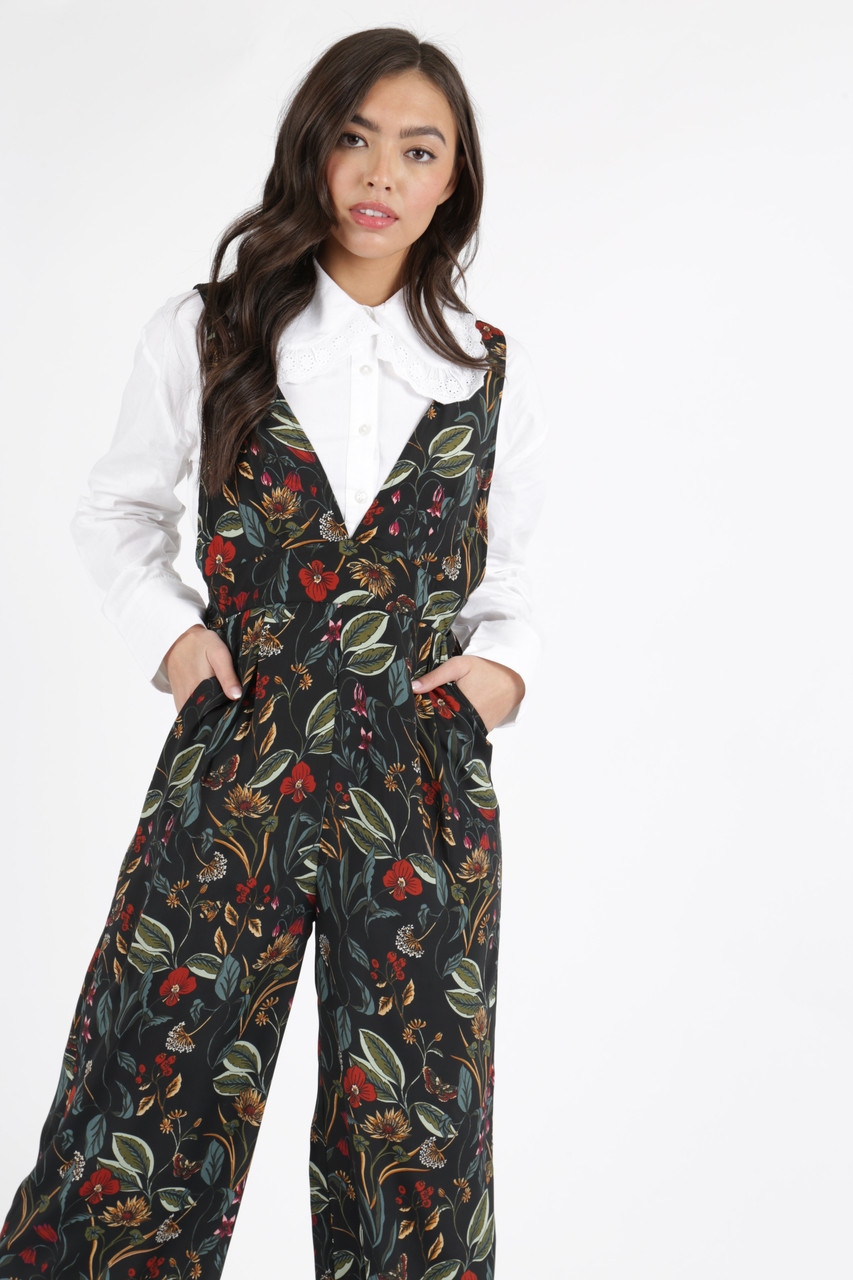 Black Botanical Floral Pinafore Jumpsuit