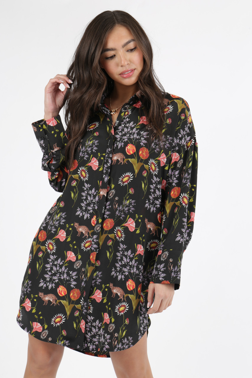 Black Conversational Print Oversized Shirt Dress