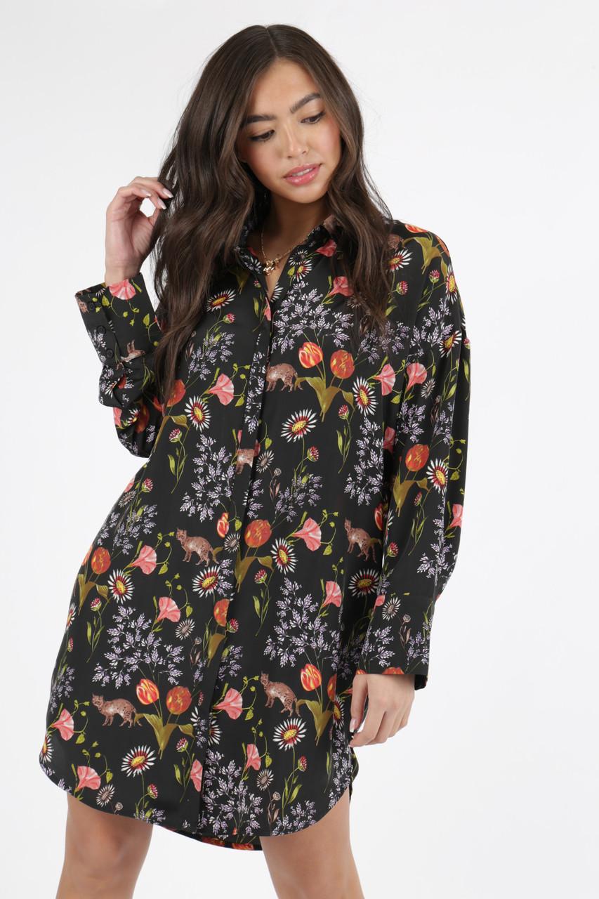 Black Conversational Print Oversized Shirt Dress