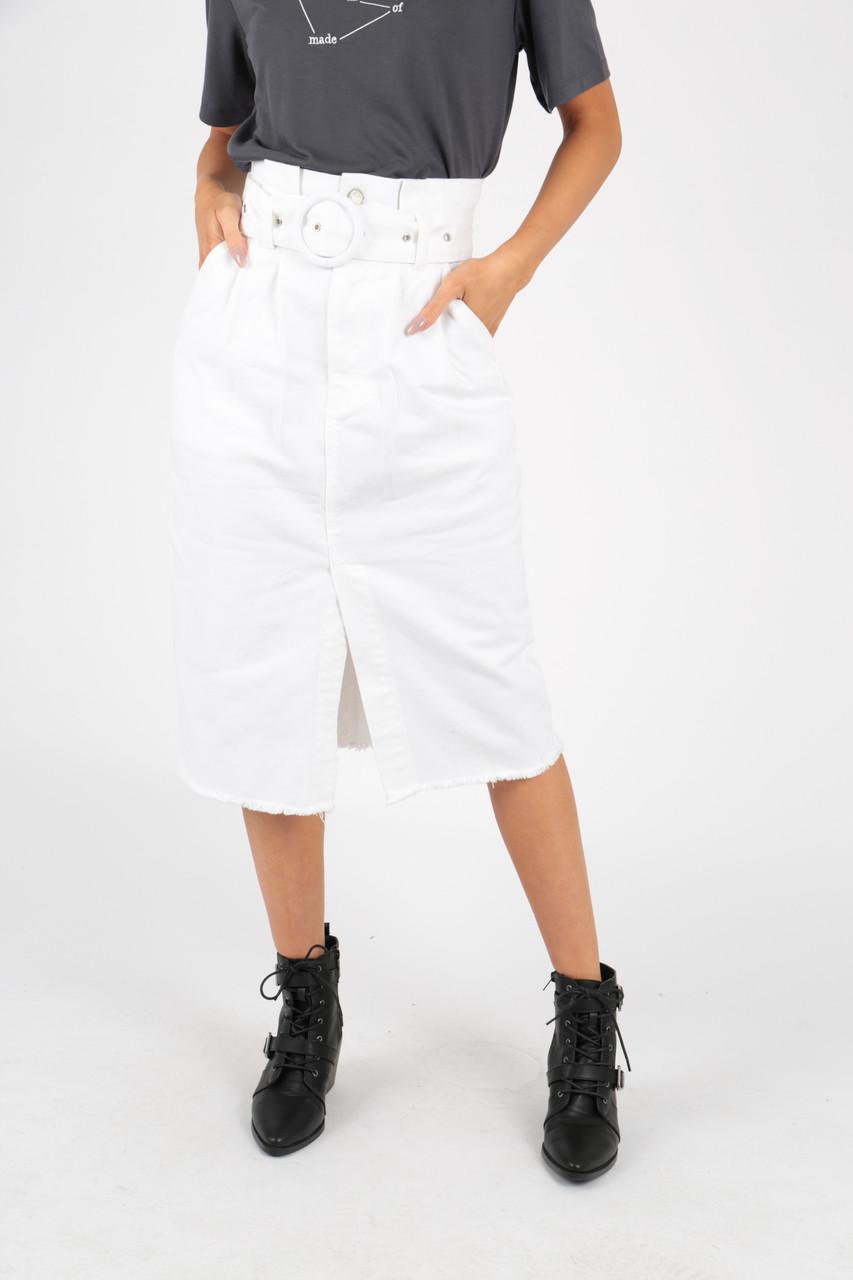 White Denim Belted Midi Skirt With Frayed Hem