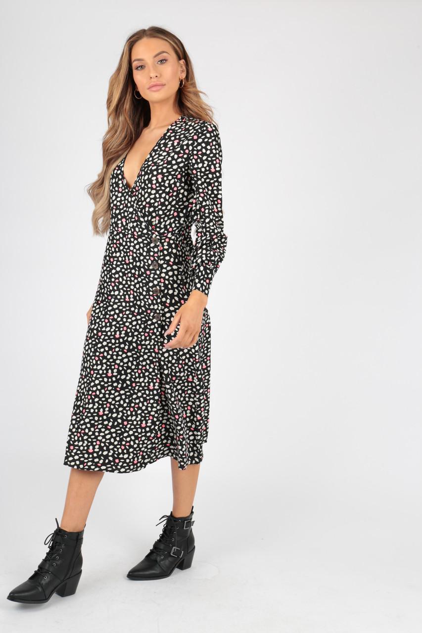 Black Animal Print Side Button Detail Wrap Midi Dress