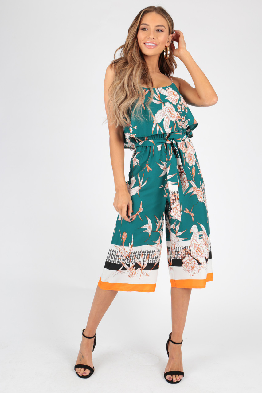 Green Oriental Border Print Double Layer Culotte Jumpsuit