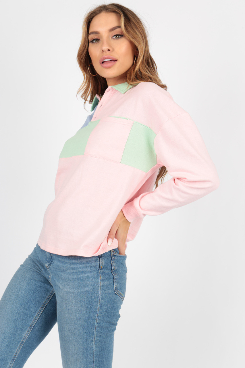 Pastel Dropped Shoulder Oversized Rugby Jersey Top