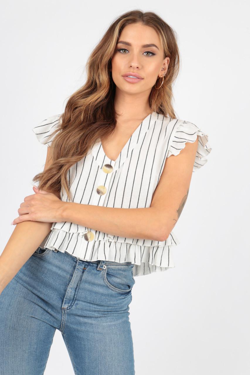 White Stripe Cotton Peplum Frill Button Top