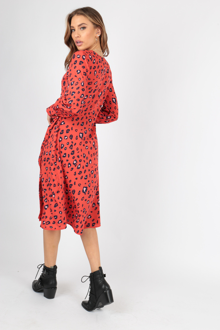 Red Leopard Animal Wrap Midi Dress with Mock Horn Buttons