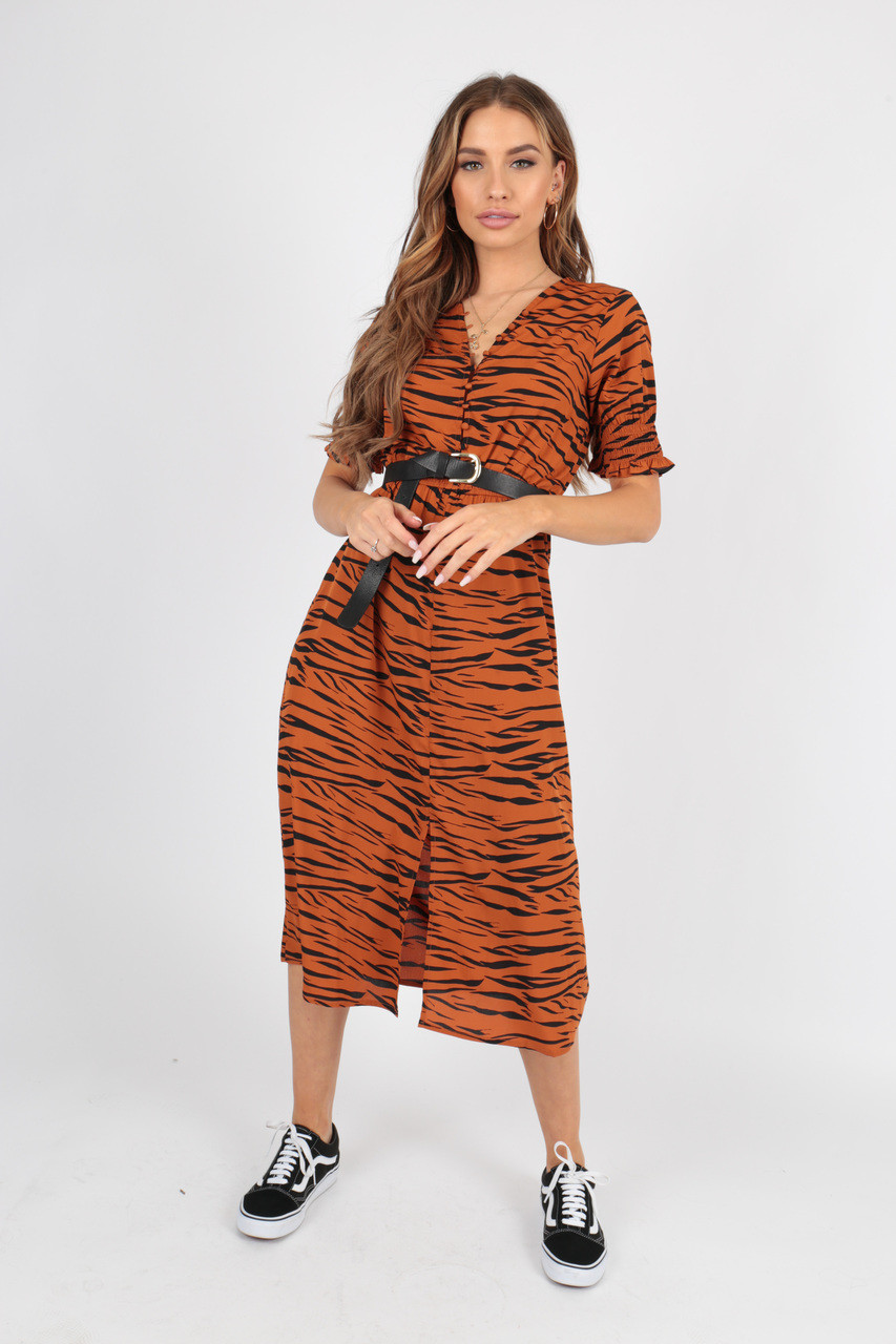 Rust Tiger Animal Midi Dress with Button Detail And Shirred Sleeves