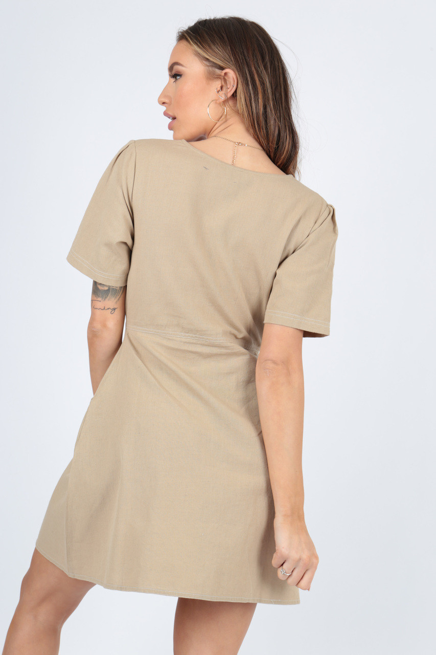 Stone Cotton Contrast Stitch Dress With Gathers And Self Fabric Button Detail