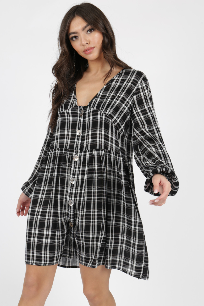 Black and White Check Button Detail Smock Dress