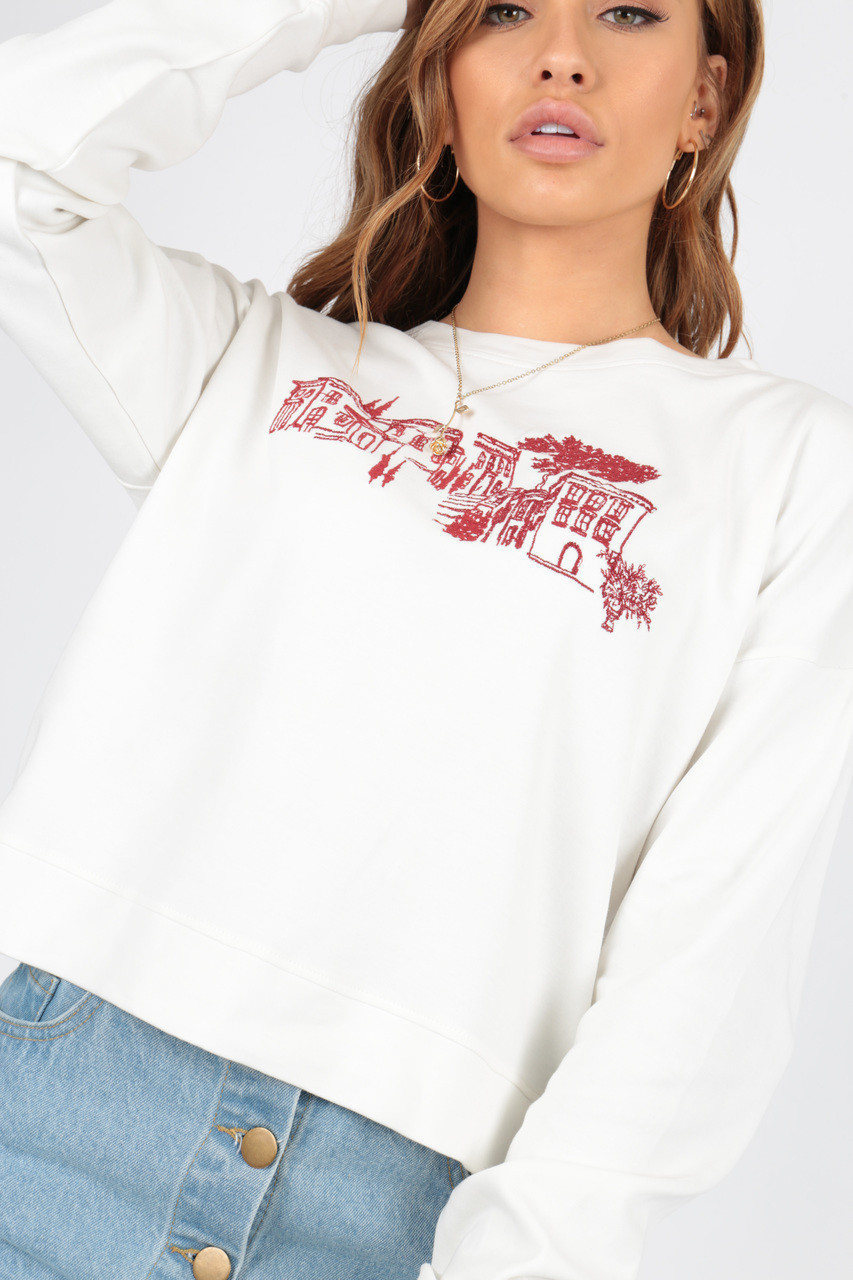 Scenic Embroidery Crop Sweat