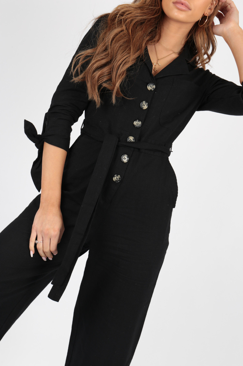 Black Tie Waist Boilersuit