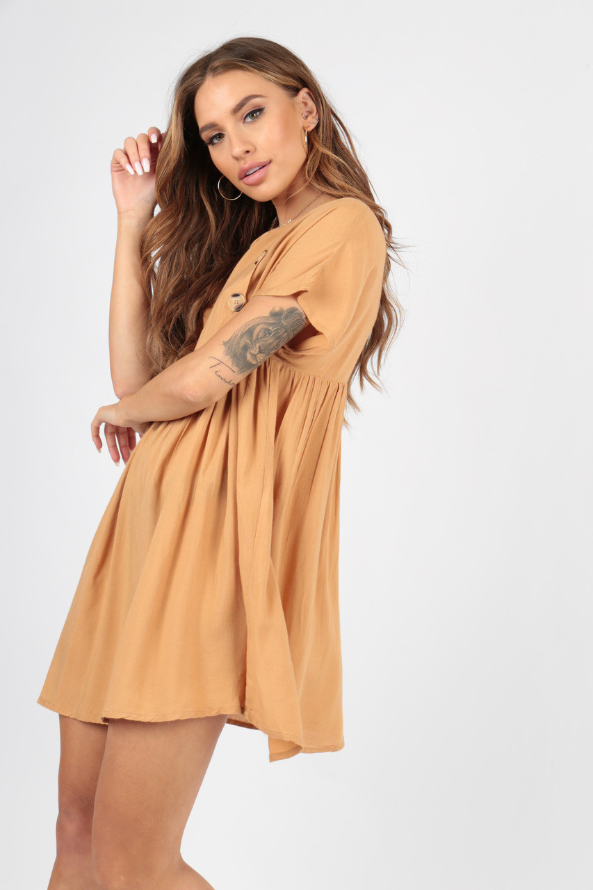 Camel Smock Dress with Mock Horn Buttons