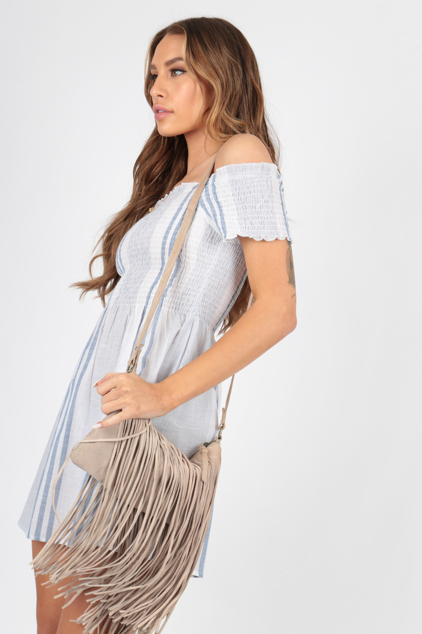 Cotton Blue and White Striped Shirred Detail Dress
