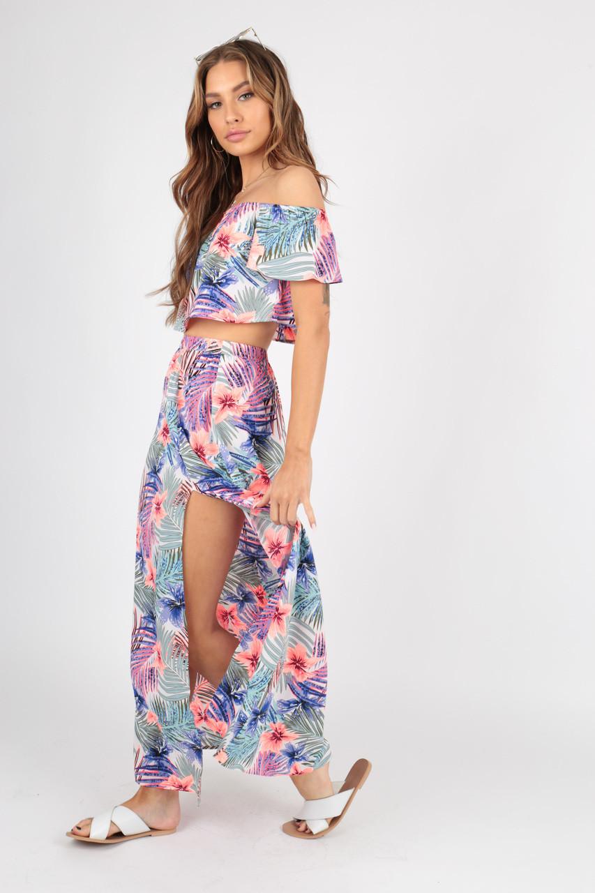 Tropical Print Maxi Skirt with Split