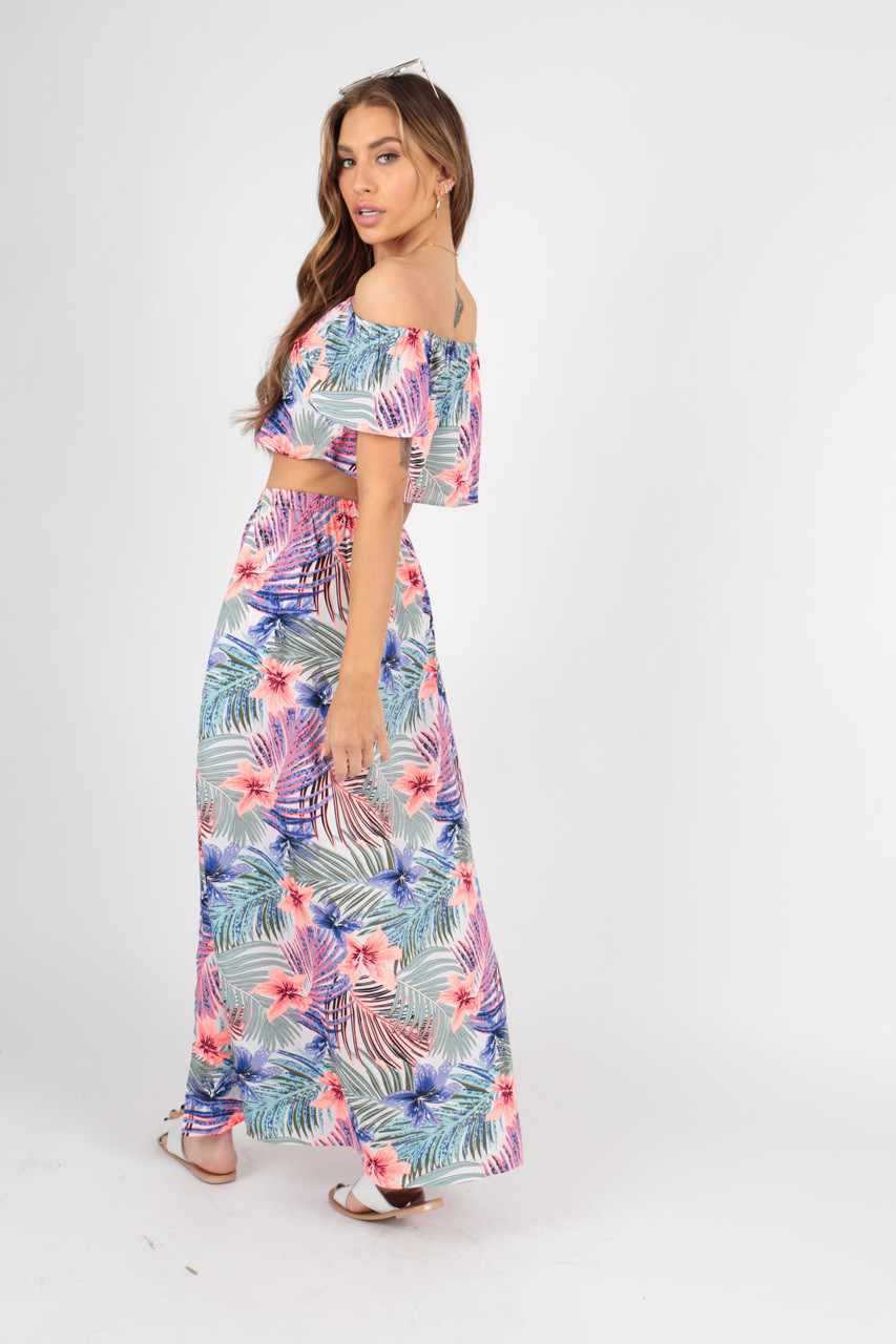 Tropical Print Bardot Top